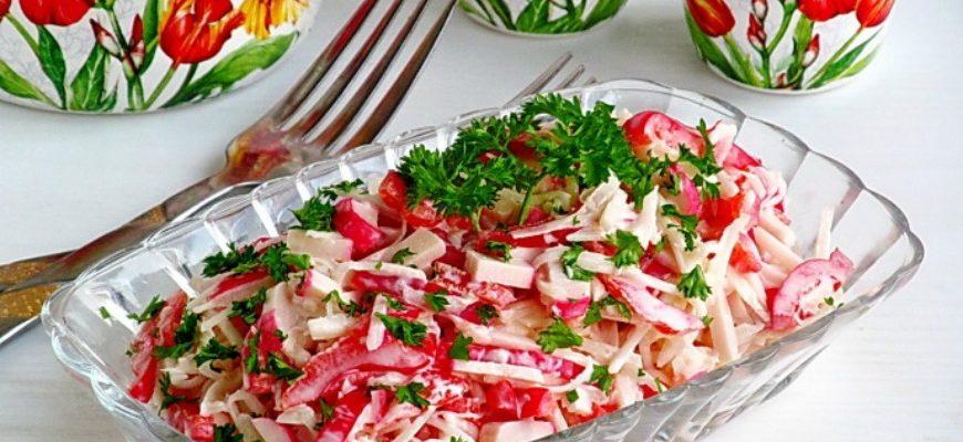 Крабовий салат з чорною редькою - рецепт