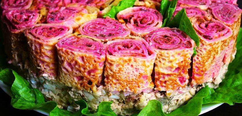 Салат на свято «Букет троянд», рецепт приготування