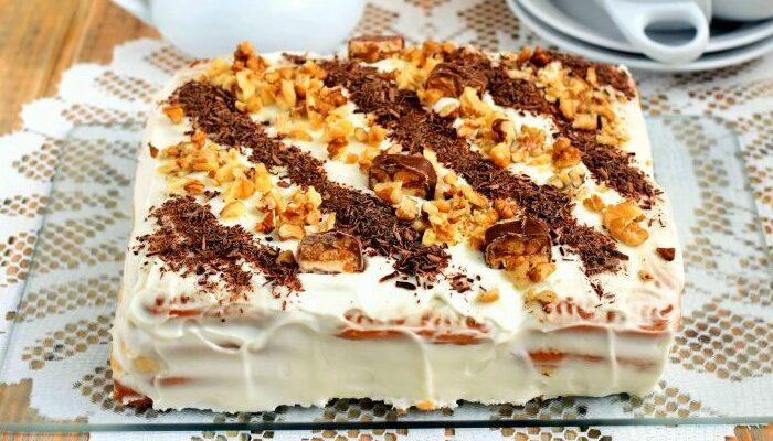 Торт з печива і бананів - рецепт приготування