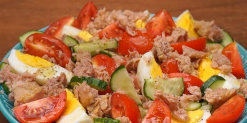 Салат з тунцем і овочами - рецепт приготування