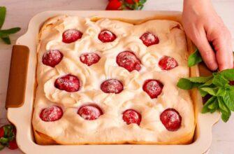 Пиріг «Полунична хмаринка» - рецепт приготування
