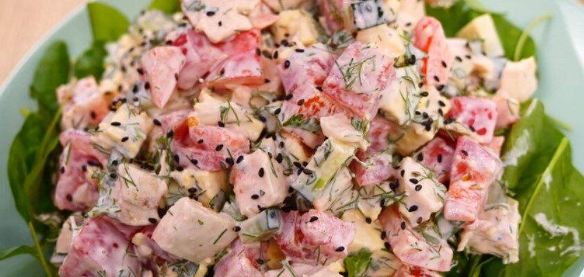 Салат з куркою «П'ятихвилинка» - рецепт приготування