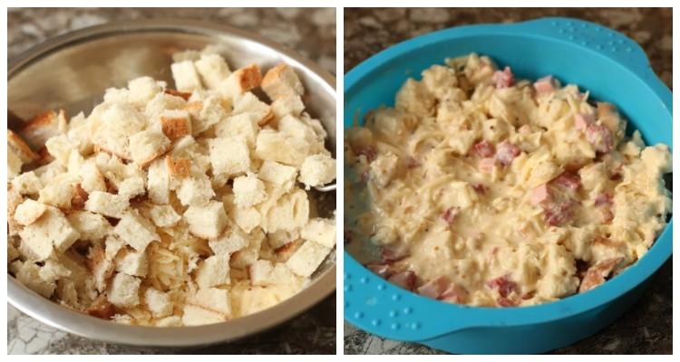 Як зі звичайного батона, ковбаси, яєць і сиру приготувати швидкий пиріг на сніданок
